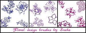 手绘漂亮的植物花纹、印花图案PS笔刷下载