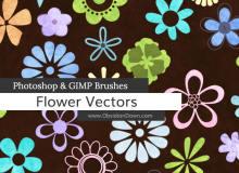可爱鲜花、花朵、印花花纹PS笔刷