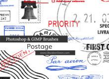 邮票、邮资、邮戳图案PS笔刷下载