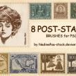 8张欧美老旧邮票素材PS笔刷下载