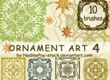 欧美风格的复古印花PS镜像花纹笔刷