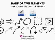 30种手绘涂鸦线条、箭头笔记PS笔刷素材