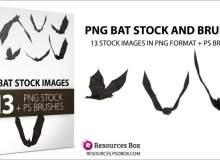 13种恐怖黑蝙蝠、蝙蝠吸血鬼图案PS笔刷下载