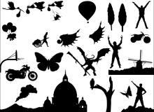 卡通形象、恶魔魔王、热气球、小树、摩托车、蝴蝶、风车等PS自定义形状素材