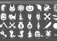 48种可爱的骷髅头、万圣节南瓜图案、蝙蝠怪等PS节日装扮美图笔刷