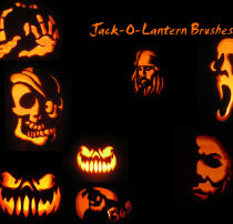 万圣节魔鬼灯影图像、骷髅头、海盗、恶鬼南瓜图像PS笔刷下载