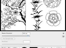 日式樱花印花花纹图案PS笔刷下载