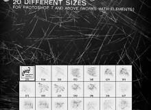 20种锋利的尖锐物划痕、刻痕纹理Photoshop笔刷素材