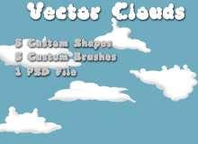 卡通云朵图案PS笔刷素材