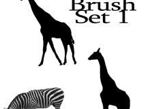 长颈鹿、斑马等剪影图像PS动物笔刷