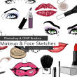 女性眼睛、口号、嘴唇、化妆用品等装饰涂鸦PS美图笔刷