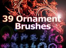 39种超精美绚丽植物印花、光影花纹图案PS笔刷