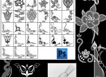 经典蕾丝刺绣式印花图案Photoshop笔刷素材下载