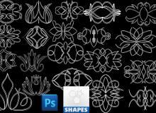 手绘线条植物花纹图案photoshop自定义形状素材 .csh 下载