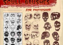 恐怖骷髅头、人体头颅图案Illustrator矢量笔刷Ai画笔素材免费下载