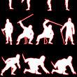 日本忍者士兵、日本武士人像剪影PS笔刷下载(csh格式,自定义形状)