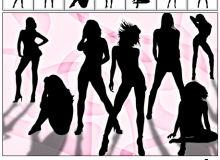 夜店热舞女郎、性感女性姿势造型PS笔刷下载(csh格式,自定义形状)