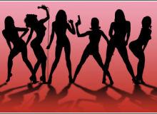 成熟的魅力都市女郎、歌舞表演者PS笔刷下载(csh格式,自定义形状)