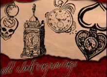 欧式旧钟、中古钟版刻图案Photoshop笔刷下载