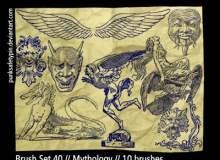 地狱中的魔鬼、恶魔手绘造型PS笔刷下载