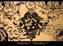 复古式欧美手绘印花装饰PS笔刷下载