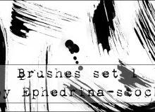 毛笔刷子纹理效果Photoshop笔刷素材免费下载