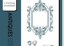 10种复古式手绘边框、丝带、园艺边框、镜框、精美底座等PS笔刷素材