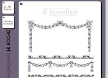 漂亮的花带装饰、植物花纹边框图案Photoshop笔刷素材