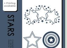 五彩星星图案、闪烁星星符号Photoshop笔刷素材