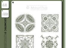 漂亮手绘复古经典欧式印花图案PS笔刷素材下载