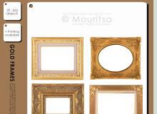 精美的镶金边框图案、贵族画框PS笔刷下载(PNG透明素材)