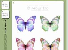 4种七彩梦幻蝴蝶图形PS笔刷素材(AI文件素材)