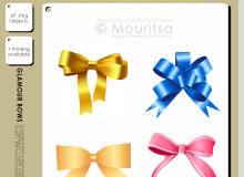 蝴蝶结、礼品带、装饰用彩结PS笔刷素材(PNG透明格式、ai矢量文件格式)
