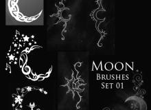 漂亮的梦幻月亮纹身、刺青花纹PS笔刷下载