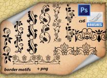 精美的艺术植物印花装饰花边图案PS笔刷下载