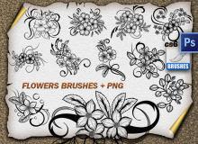 精美的手绘鲜花花纹图案PS艺术印花笔刷