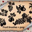 葡萄花纹、草莓剪影图案、樱桃矢量图形PS剪贴画笔刷