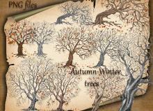 枯树效果、秋天的大树剪影图形PS笔刷下载(PNG透明格式)