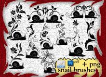 可爱的蜗牛印花、蜗牛植物花纹图案PS笔刷下载
