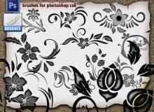 漂亮的植物花纹、鲜花花纹图案Photoshop印花笔刷素材