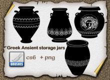 精美的古希腊水罐图像装饰PS笔刷下载