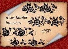 富丽堂皇的玫瑰花印花图案装饰PS笔刷素材下载(含psd源文件素材)