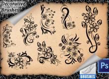 漂亮的鲜花花纹装饰图案Photoshop植物印花笔刷