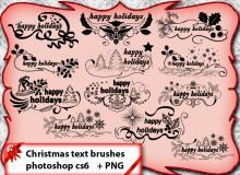 精美的圣诞节文字装饰图案Photoshop笔刷下载