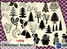 圣诞节圣诞树、坚果、圣诞夜叶子、铃铛等装饰物品PS笔刷下载