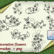 漂亮优美的植物印花花纹图案PS小清新花纹笔刷