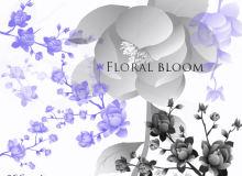 漂亮的枝条鲜花组合图案PS笔刷下载