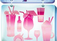 夏天饮料杯子、果汁冷饮PS美图笔刷素材