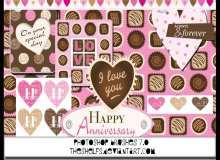 可爱巧克力化恋爱贴纸背景PS美图笔刷