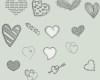各种可爱的爱心图像装饰Photoshop情人节心形笔刷下载